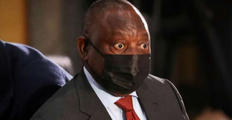 Ramaphosa arriving Thursday for his second day of testimony at the anti-graft inquiry.  By Sumaya HISHAM (POOL/AFP)