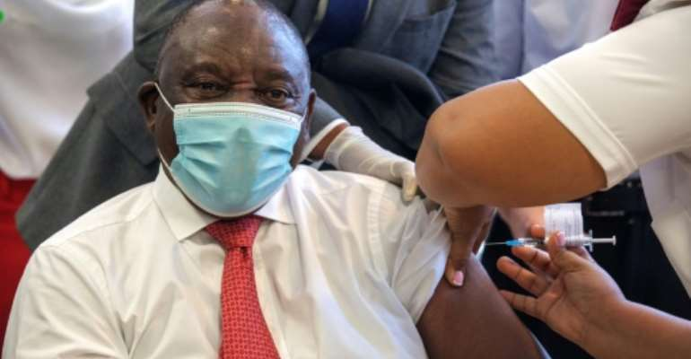 Ramaphosa received his own first Covid-19 vaccine dose in February.  By GIANLUIGI GUERCIA (POOL/AFP)