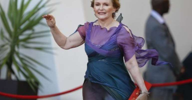 South African opposition leader Helen Zille arrives for the opening of parliament ceremony on February 9, 2012.  By Nic Bothma (POOL/AFP/File)