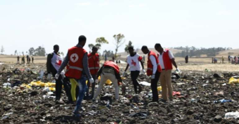 Red Cross teams work through the debris of an Ethiopian Airlines plane which crashed shortly after take-off from Addis Ababa, killing all 157 on board.  By Michael TEWELDE (AFP)