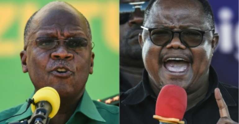 Re-elected president John Magufuli, left, and opposition leader Tundu Lissu, who was shot 16 times in a 2017 attack.  By ERICKY BONIPHACE (AFP/File)