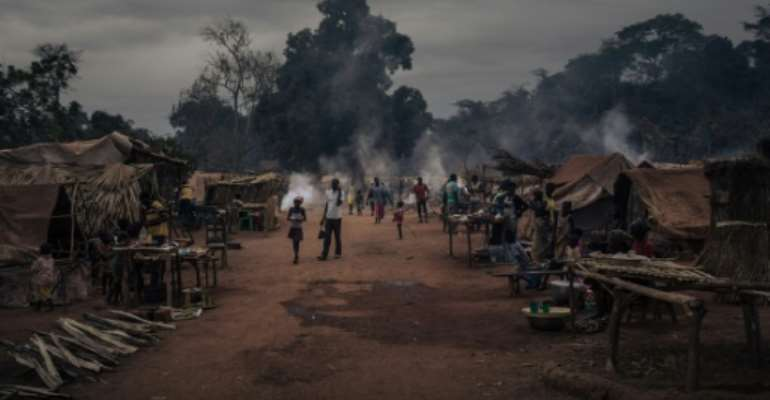 Refugees from the CAR city of Bangassou fled to Ndu in neighbouring DR Congo after a rebel offensive in January.  By ALEXIS HUGUET (AFP)