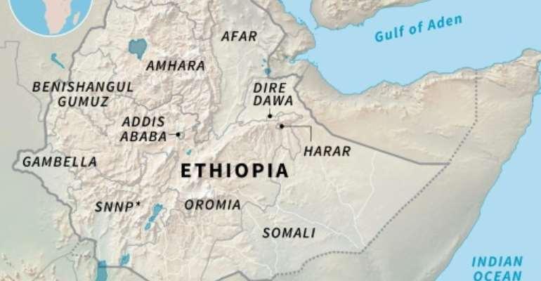 Regions of Ethiopia.  By Simon MALFATTO (AFP)