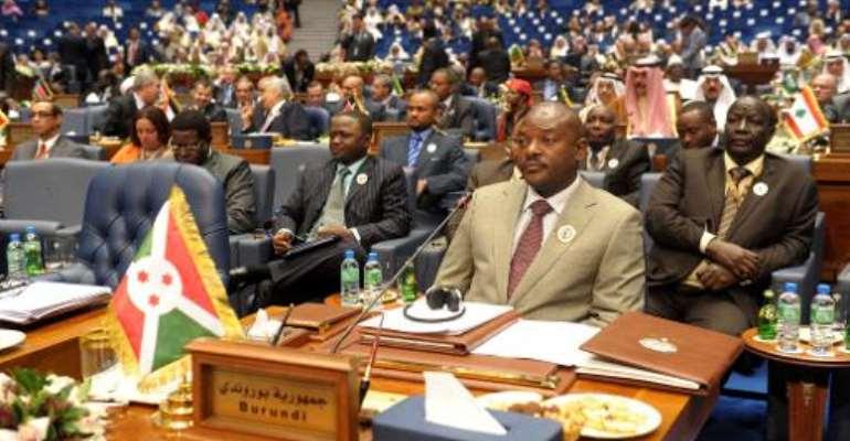 Burundi's President Pierre Nkurunziza during the Arab and African leaders summit in Kuwait city on November 20, 2013.  By Yasser Al-Zayyat (AFP)