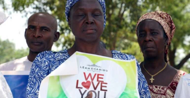 Relatives and activists mark the 16th birthday of Leah Sharibu, abducted by Boko Haram Islamists in Nigeria on February 19, 2018.  By KOLA SULAIMON (AFP)