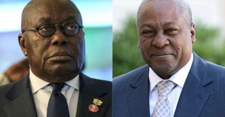 Rivals: President Nana Akufo-Addo, left, and predecessor John Mahama.  By Kola SULAIMON, STEPHANE DE SAKUTIN (AFP/File)
