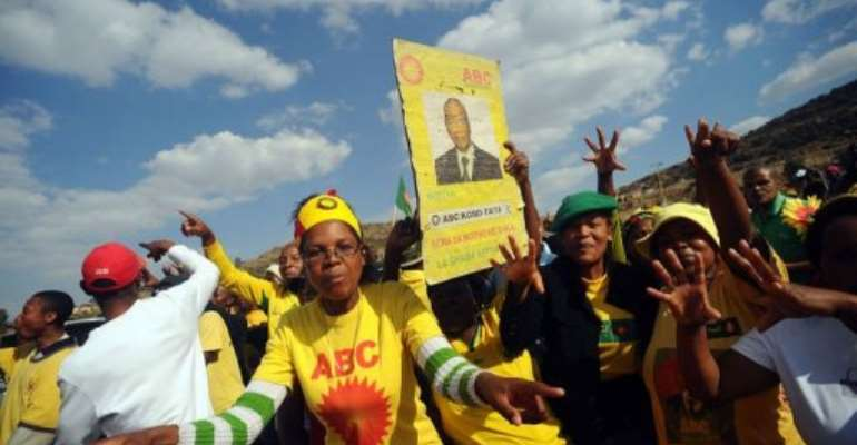 Supporters of Thomas Thabane, All Basotho Convention (ABC), celebrate in Maseru.  By Alexander Joe (AFP/File)