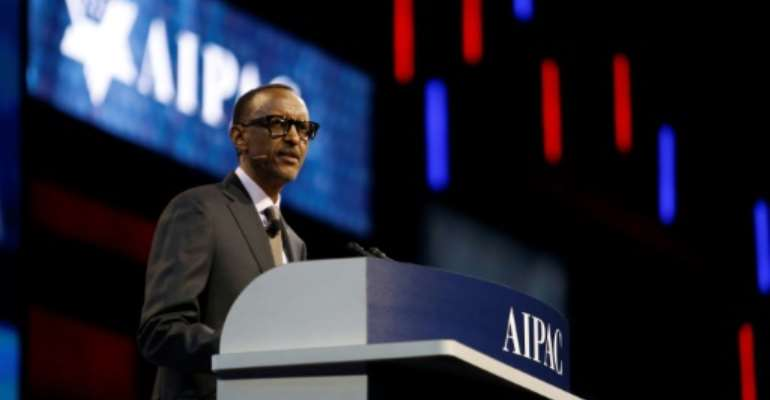 Rwandan president Paul Kagame speaks during the American Israel Public Affairs Committee policy conference in Washington.  By Andrew Biraj (AFP)