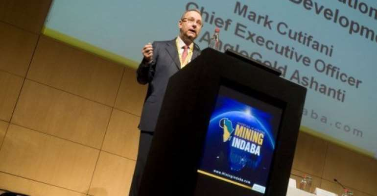 Mark Cutifani, Anglo American CEO designate, speaks in Cape Town on February 7, 2013.  By Rodger Bosch (AFP)
