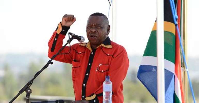 South African Higher Education MinisterBlade Nzimande delivers a speech on April 10, 2013 in Elspark.  By Stephane de Sakutin (AFP/File)