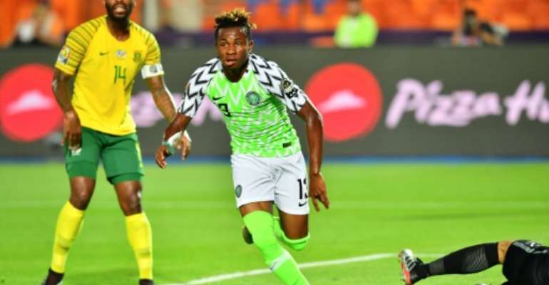 Samuel Chukwueze scored the opening goal in a 2-1 win over South Africa in the quarter-finals.  By Giuseppe CACACE (AFP/File)
