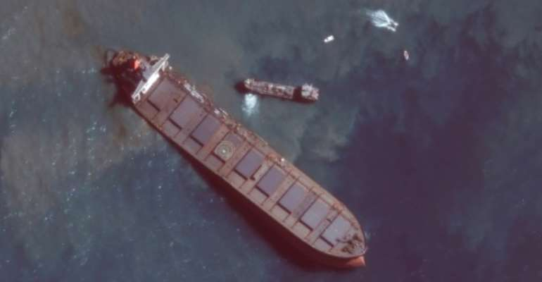 Satellite image showed the stricken tanker off the southeastern coast of Mauritius (picture courtesy of Maxar Technologies).  By Handout (Satellite image ©2020 Maxar Technologies/AFP)