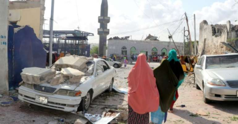 Saturday's bombing in Mogadishu, which killed eight people, was claimed by the Al-Shabaab jihadist group.  By Abdirazak Hussein FARAH (AFP)