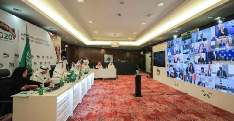 Saudi Arabia's Energy Minister Abdulaziz bin Salman chairs a virtual meeting of G20 oil ministers in Riyadh.  By - (Saudi Arabia's Ministry of Energy/AFP/File)