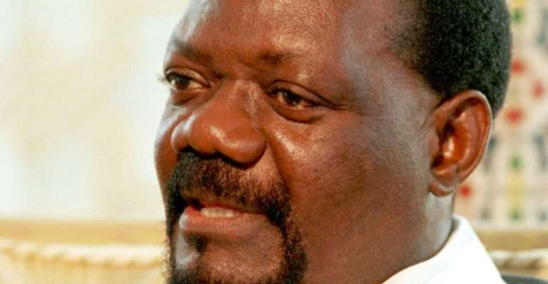 Savimbi, pictured in 1996.  By ISSOUF SANOGO (AFP)