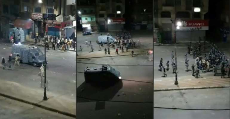 Security forces and protestors faced an hour-long standoff at the weekend in the port city of Suez.  By - (MOHAMED SAIED'S FACEBOOK ACCOUNT/AFP/File)