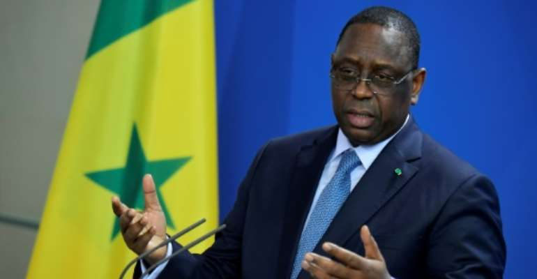 Senegal's President Macky Sall defended his country's ban on same-sex activity.  By Tobias SCHWARZ (AFP)