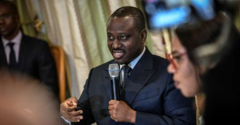 Sess is a leader of the GPS party founded by ex-PM Guillaume Soro, shown here, a close ally of President Alassane Ouattara before they fell out.  By STEPHANE DE SAKUTIN (AFP)