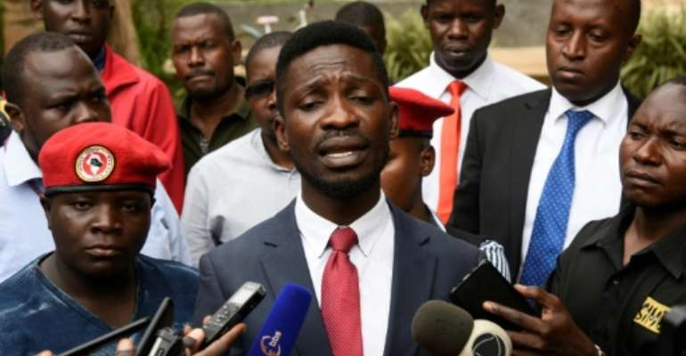 Several times in recent months the authorities have prevented Ugandan musician turned politician Bobi Wine from giving concerts.  By ISAAC KASAMANI (AFP)