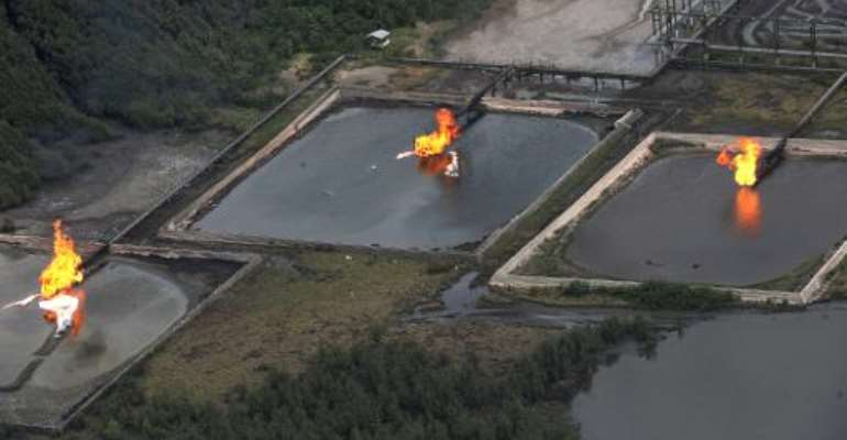 A picture taken on March 22, 2013 shows gas flare at Shell Cawtharine Channel, Nembe Creek in the Niger Delta.  By Pius Utomi Ekpei (AFP/File)