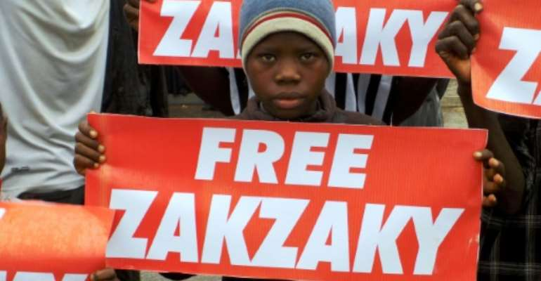 Shiite Muslims have protested in the streets to press for Ibrahim  Zakzaky's release.  By AMINU ABUBAKAR (AFP/File)