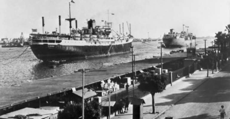 Ships on the Suez Canal in 1956, the year Egypt nationalised the waterway and sparked a major crisis with Britain, France and Israel.  By STR (FILES) (INTERCONTINENTALE/AFP)