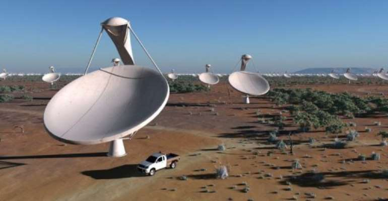 An artist impression of dishes making up the future Square Kilometre Array (SKA) radio telescope.  By  (AFP/SPDO/TDP/DRAO)