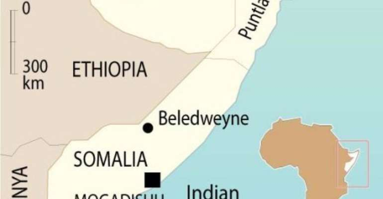 Beledweyne lies some 30 kilometres (18 miles) from the Ethiopian border.  By  (AFP/Graphics)