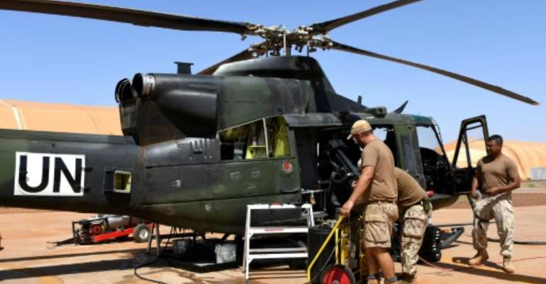 Some 250 Canadian personnel and eight helicopters were part of the country's peacekeeping contingent in Mali -- this shot was taken in Gao in August 2018.  By SEYLLOU (AFP/File)