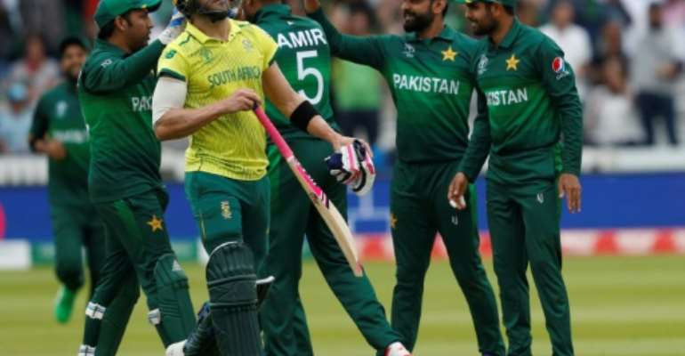 South Africa captain Faf du Plessis failed to save his side from World Cup misery against Pakistan.  By Adrian DENNIS (AFP)