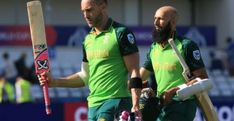 South Africa captain Faf du Plessis (left) and  Hashim Amla.  By Lindsey PARNABY (AFP)