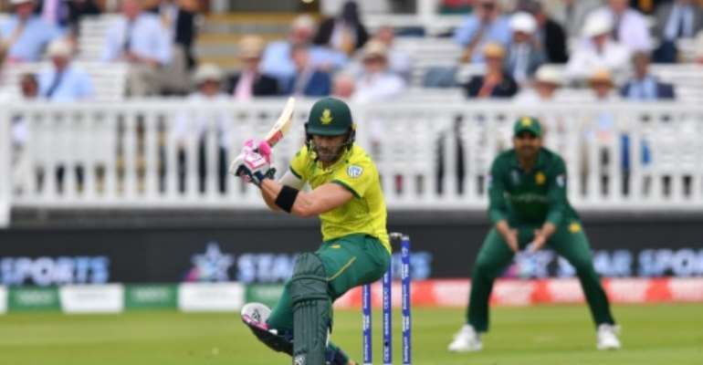 South Africa captain Faf du Plessis was under pressure in a must-win World Cup clash with Pakistan.  By SAEED KHAN (AFP)