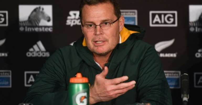 South Africa coach Rassie Erasmus speaks to the media after a 16-16 draw in New Zealand last month.  By Marty MELVILLE (AFP)