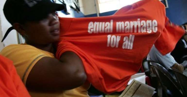South Africa is the only African country that allows same-sex marriage.  By Alexander Joe (AFP/File)