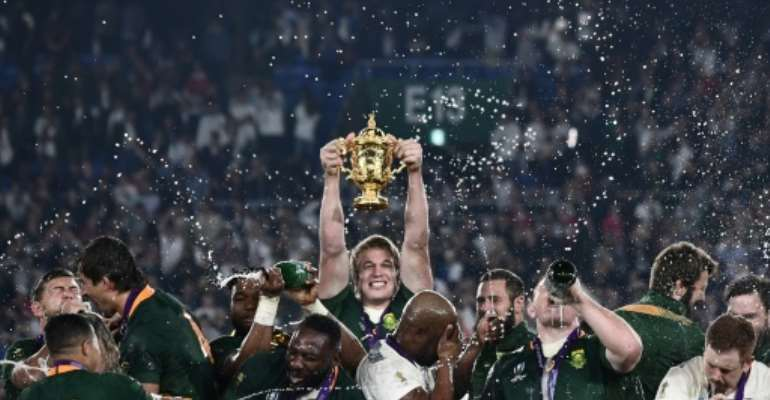 South Africa flanker Pieter-Steph Du Toit (C) returns to action this weekend after a 14-month lay-off.  By Anne-Christine POUJOULAT (AFP/File)