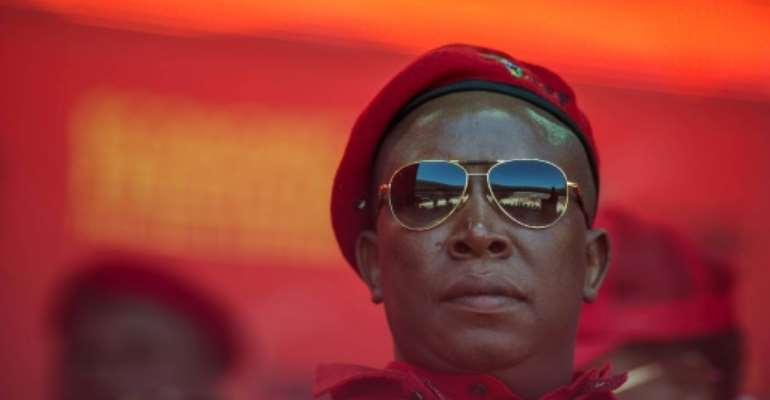 Economic Freedom Fighters leader Julius Malema during the EFF official local election manifesto launch at Soweto's Orlando Stadium in Johannesburg on April 30, 2016.  By Mujahid Safodien (AFP)