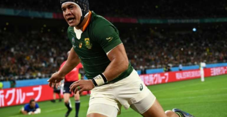 South Africa wing Cheslin Kolbe was named in a full-strength side.  By Anne-Christine POUJOULAT (AFP)