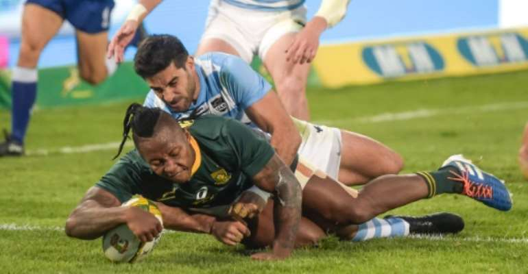 South Africa wing Sibusiso Nkosi scored two brilliant tries against Argentina.  By Christiaan Kotze (AFP)