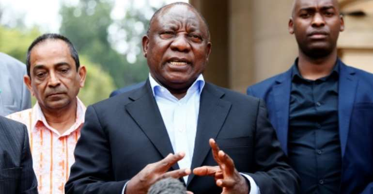 South African president and African Union chairman Cyril Ramaphosa said the coronavirus represents a setback to the continent's progress.  By Phill Magakoe (AFP/File)