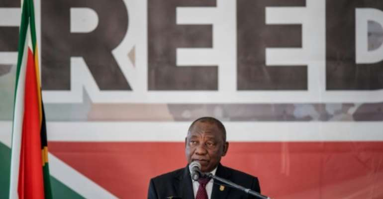 South African President Cyril Ramaphosa said that large swathes of the country's population still aren't free, 25 years after apartheid.  By Michele Spatari (AFP)