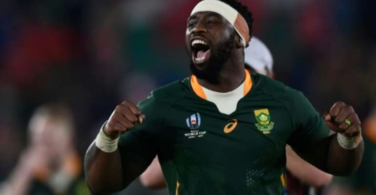 South Africa's captain Siya Kolisi carries the weight of the Rainbow Nation on his shoulders.  By CHARLY TRIBALLEAU (AFP)