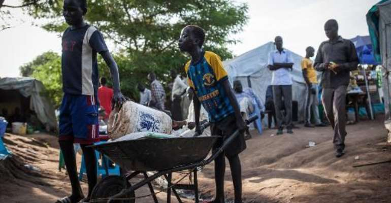 Boys push a wheelbarrow with goods at the Tomping Internally Displaced Persons (IDP) camp in Juba on July 2, 2014.  By Nichole Sobecki (AFP/File)