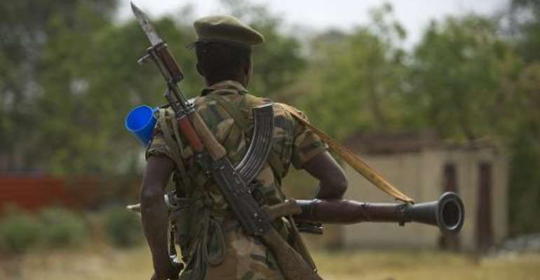 A South Sudanese People Liberation Army (SPLA) soldier patrols in Malakal on January 21, 2014.  By Harrison Ngethi (AFP/File)