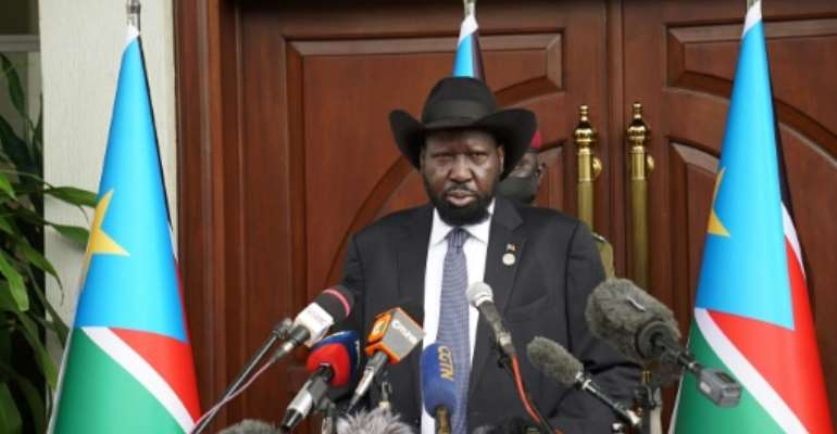 South Sudan President Salva Kiir hailed a 'new spirit of dialogue' between rivals.  By Peter Louis GUME (AFP)
