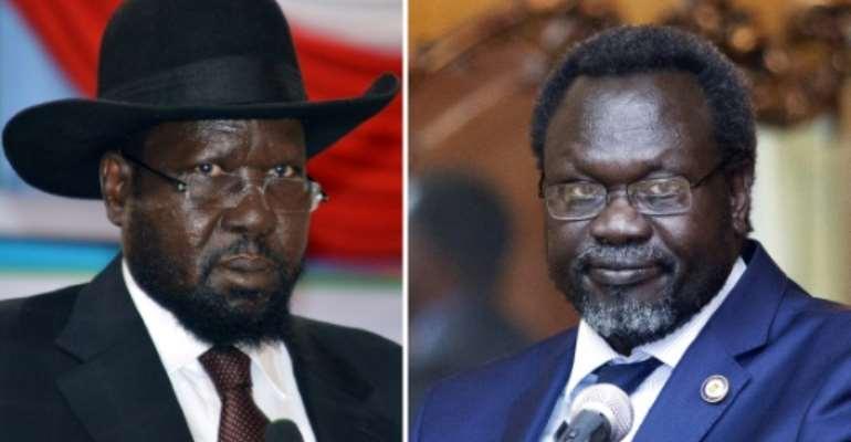South Sudan President Salva Kiir (left) has called on rebel leader Riek Machar to return to the country.  By ZACHARIAS ABUBEKER, SAMIR BOL (AFP/File)