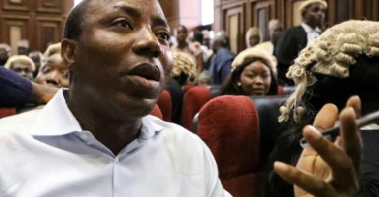 Sowore, an avowed government critic who stood for president earlier this year, was accused of treason after calling for mass protests against the government.  By KOLA SULAIMON (AFP/File)