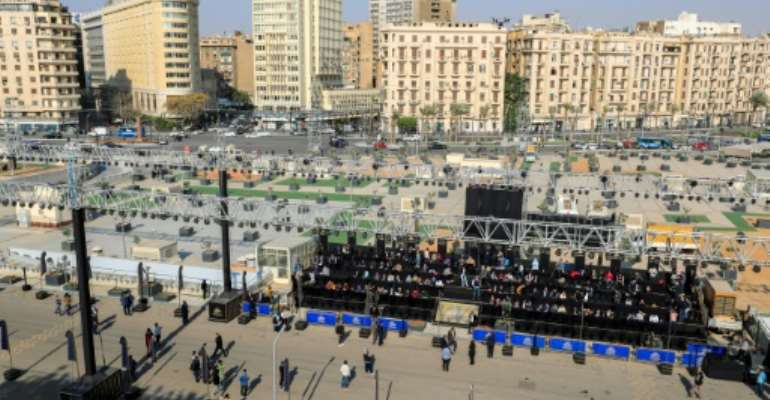 Stage set  along the parade area near the Egyptian Museum in Tahrir Square for the parade of 22 ancient Egyptian royal mummies.  By Khaled DESOUKI (AFP)
