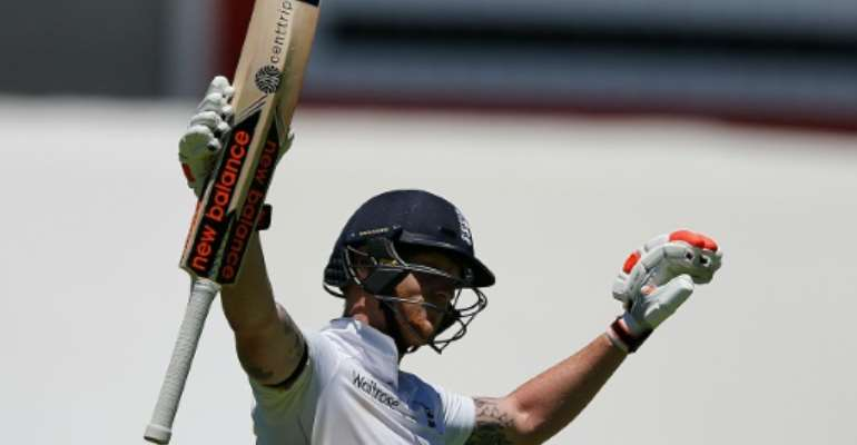 England batsman Ben Stokes celebrates a double century during day two of the second Test against South Africa in Cape Town on January 3, 2016.  By Marco Longari (AFP)