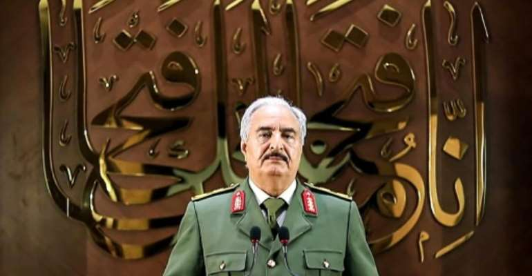 Strongman Khalifa Haftar has been accused by his detractors of seeking to impose a military dictatorship in Libya.  By - (LNA War Information Division/AFP)