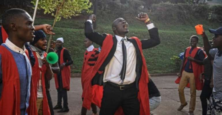 Students of Makerere University protested this week against the official procedure to scrap a presidential age limit from the constitution.  By Isaac Kasamani (AFP/File)
